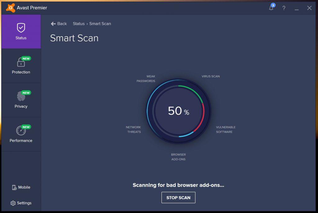 avast internet security scan