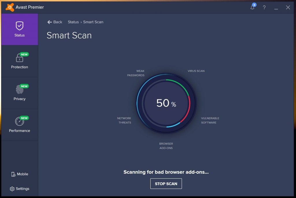 avast internet security scan